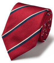 Red and navy silk multi textured stripe classic tie