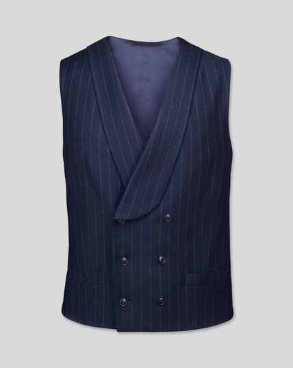 British Luxury Stripe Suit Waistcoat - Dark Blue