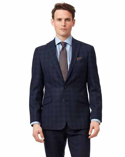Midnight blue check slim fit suit jacket