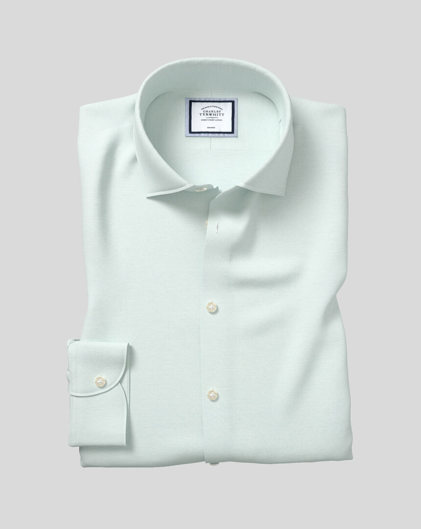 Business Casual Collar Non-Iron Cotton Linen Oxford Shirt - Mint