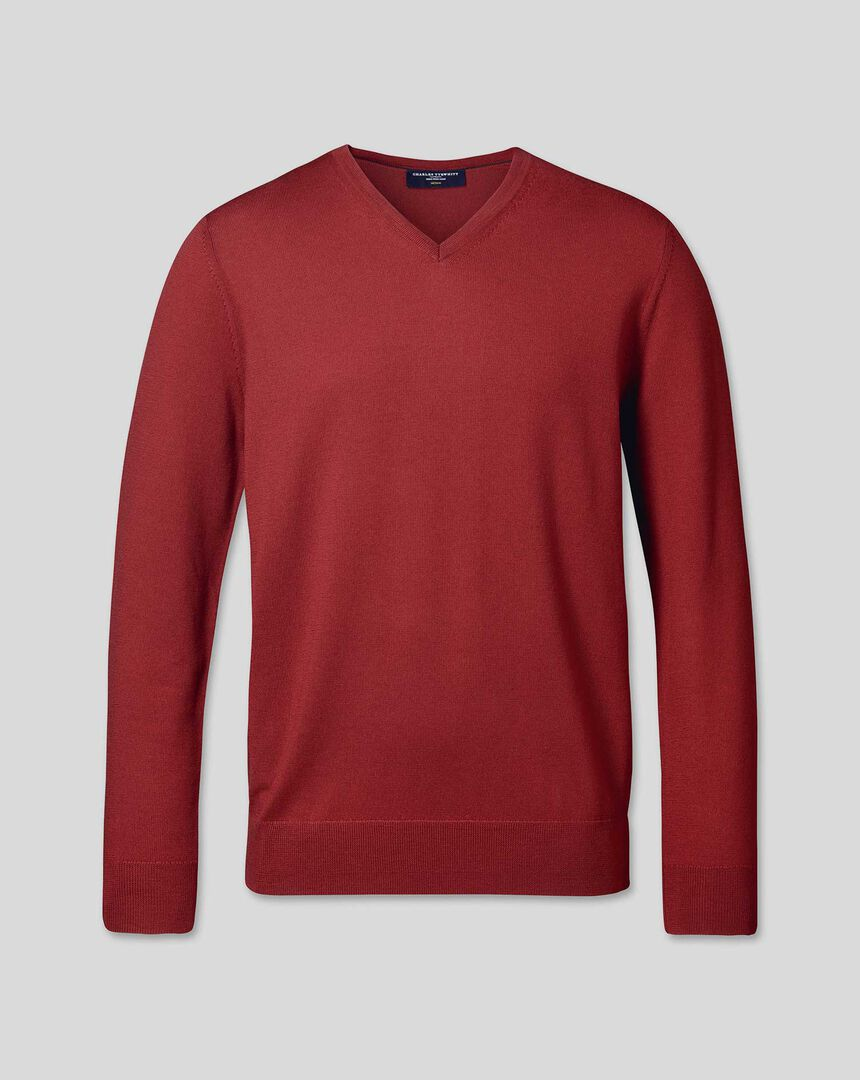 Merino V-Neck Sweater - Brick Red