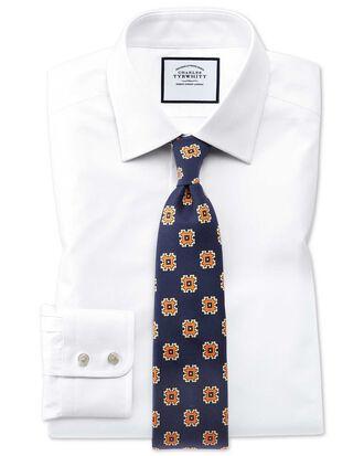 Chemise blanche en coton égyptien slim fit à tissage effet treillis