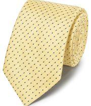 Yellow linen silk spot classic tie