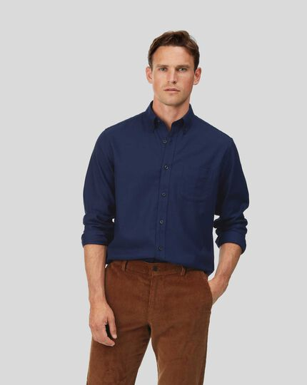 Button-Down Collar Soft Washed Non-Iron Twill Shirt - Dark Blue