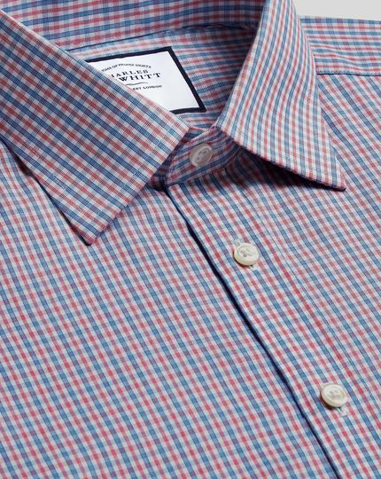 Classic Collar Non-Iron Poplin Shirt Check Shirt - Blue & Red