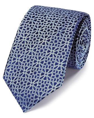 Englische Luxuskrawatte aus Seide mit geometrischem Muster in Silber