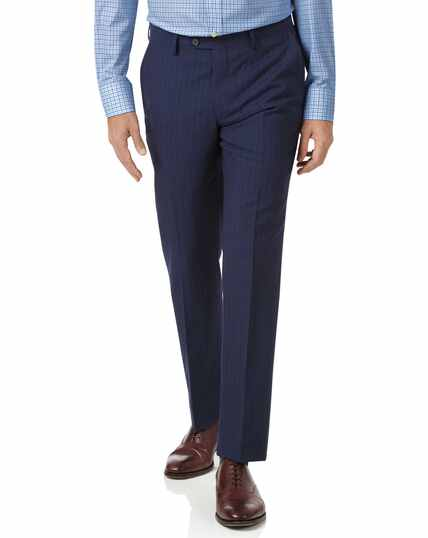 Navy slim fit Panama stripe business suit trousers