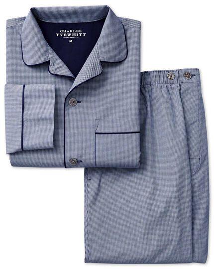 Navy micro gingham cotton pajama set