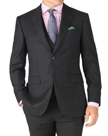 Charcoal slim fit sharkskin travel suit jacket