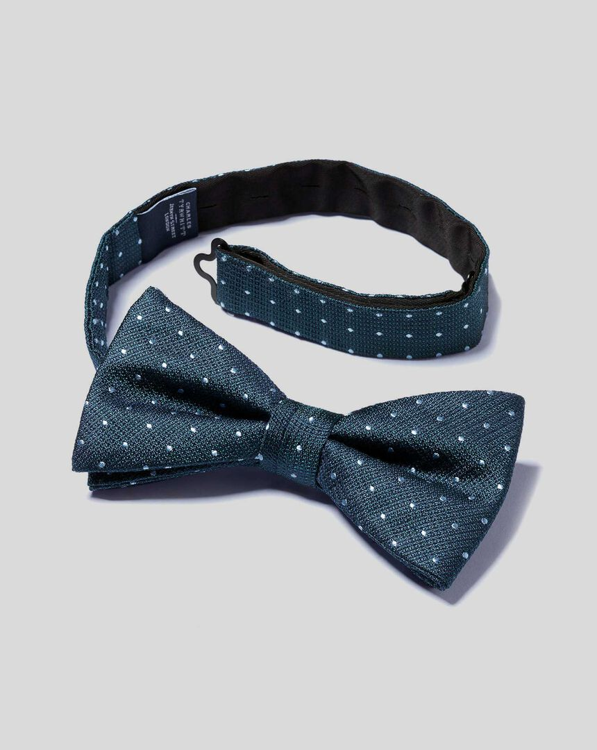 Silk Spot Ready-Tied Bow Tie - Petrol & Sky