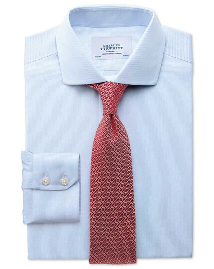 Slim fit cutaway collar non-iron mouline stripe sky blue shirt