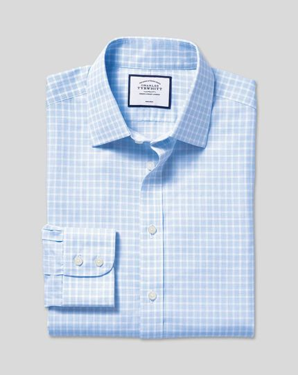 Non-Iron Poplin Check Shirt - Sky