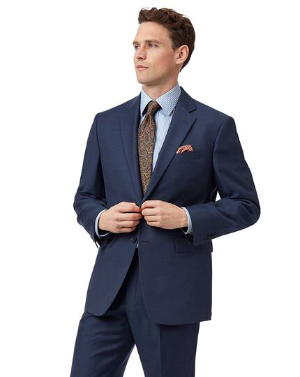 Classic Fit Business Anzug Sakko aus Twill in Blau