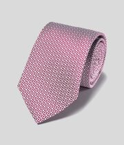 Stain Resistant Silk Classic Tie - Berry & White
