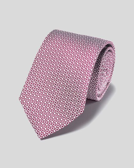 Stain Resistant Silk Tie - Berry & White