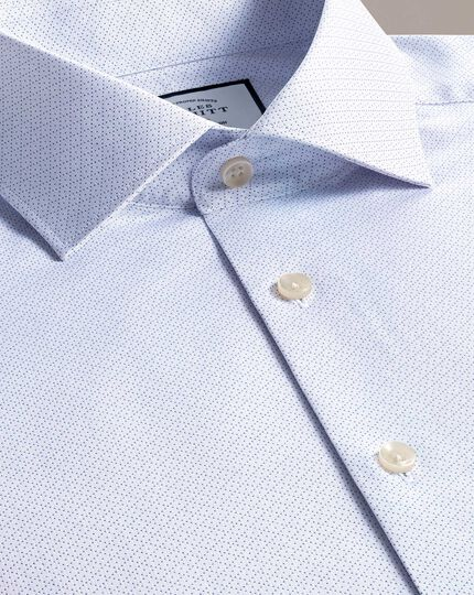 Slim fit business casual blue diamond dobby shirt