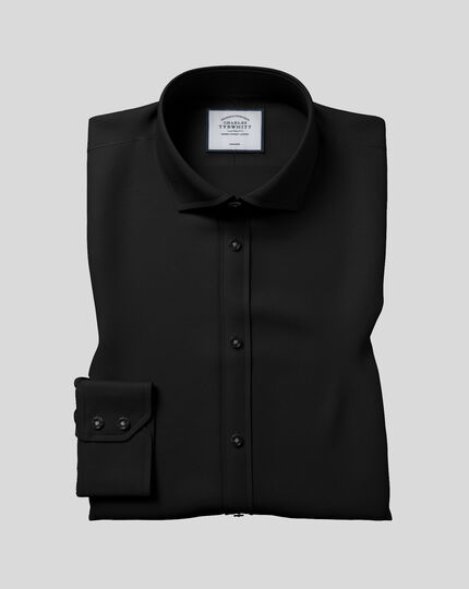 Cutaway Collar Non-Iron Poplin Shirt  - Black
