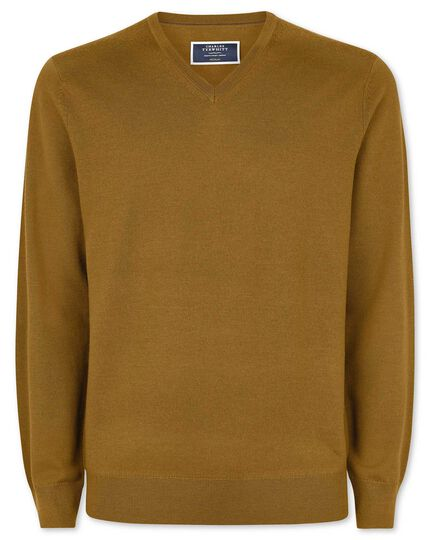 Dark yellow merino v neck sweater