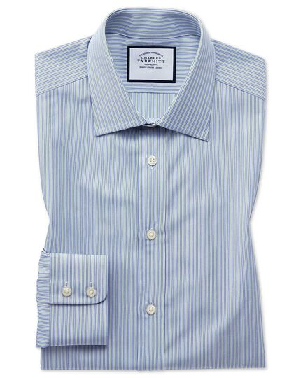 Slim fit Egyptian cotton poplin blue and green fine stripe shirt