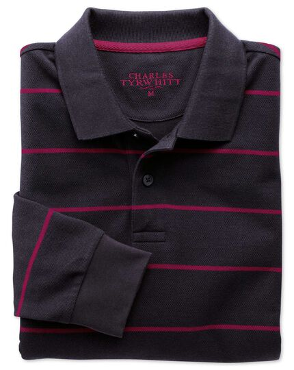 Navy and berry stripe pique long sleeve polo