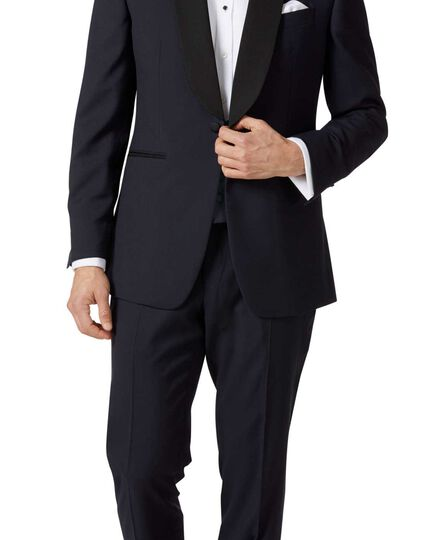 Veste de costume de soirée bleu nuit slim fit avec col châle