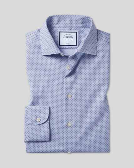 Business Casual Collar Non-Iron Circle Printed Shirt - Blue