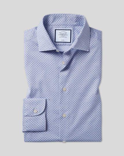 Chemise à col business casual et imprimé cercles sans repassage - Bleu
