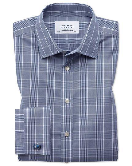 Chemise bleu marine et blanche Prince de Galles sans repassage avec coupe droite