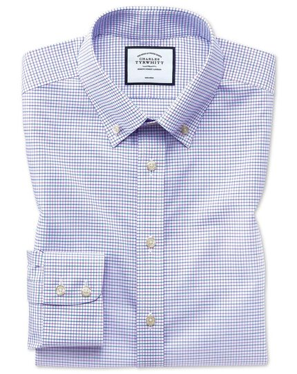 Non-Iron Button-Down Check Shirt - Lilac And Blue