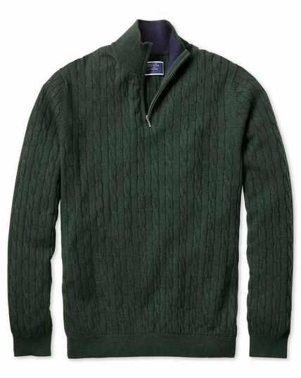 Green zip neck lambswool cable knit jumper