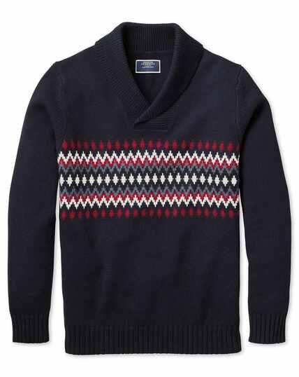 Pullover mit Fair-Isle-Muster und Schalkragen in Marineblau und Rot