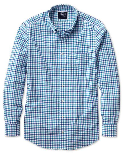 Classic fit poplin blue multi gingham shirt