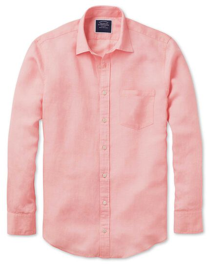 Classic fit pink Tencel™ with linen shirt
