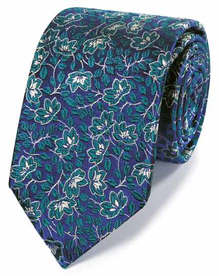 Green silk floral English luxury tie
