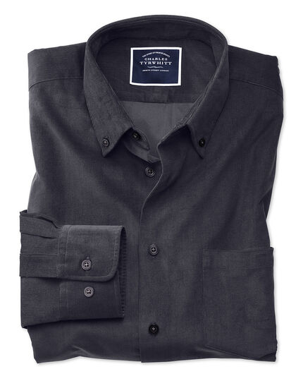 Extra slim fit plain charcoal fine corduroy shirt