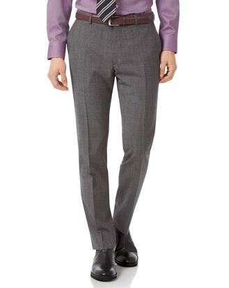 Grey slim fit jaspe check business suit pants
