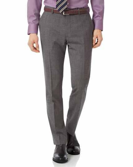 Grey slim fit jaspe check business suit pants