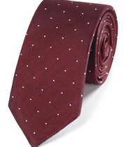 Burgundy and white spot slim tie