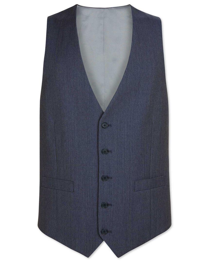 Light blue adjustable fit herringbone business suit vest