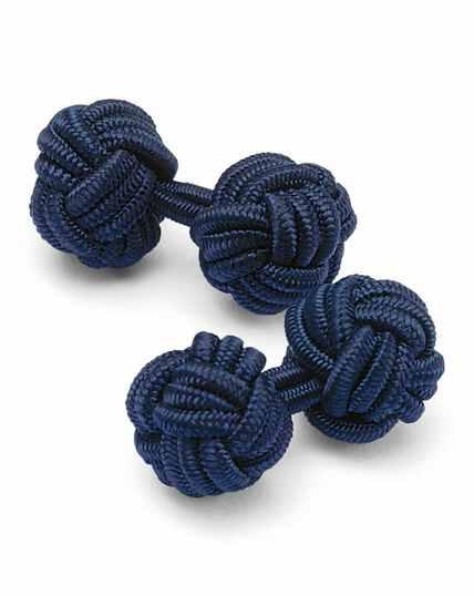 Seidenknoten-Manschettenknöpfe in Marineblau