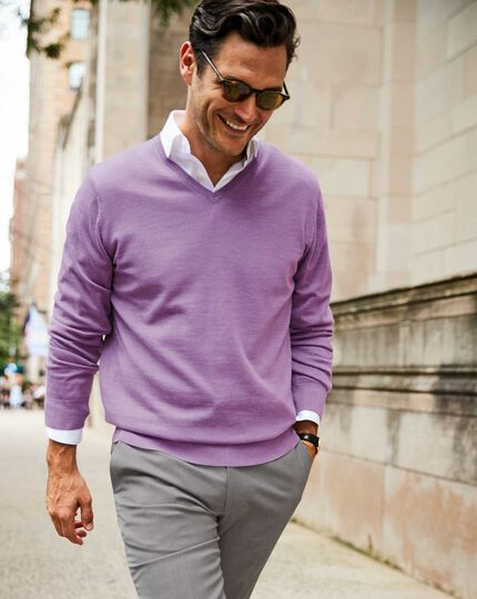 Merino V-Neck Sweater - Lilac