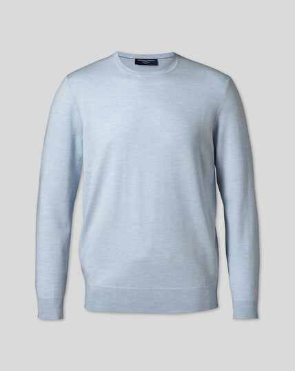 Merino Crew Neck Sweater - Sky