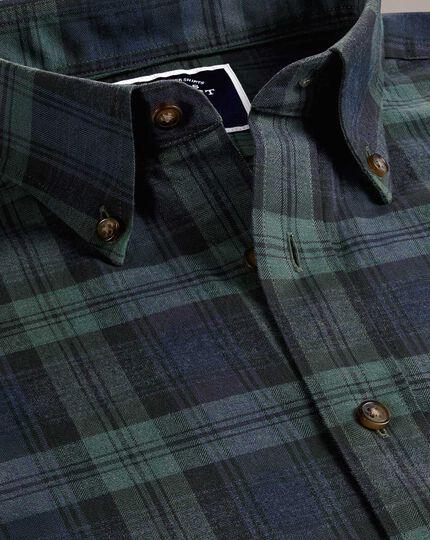 Slim fit navy and green check herringbone melange shirt
