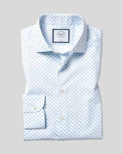 Business Casual Collar Non-Iron Dragonfly Printed Shirt - Sky