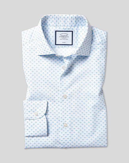 Chemise à col business casual et imprimé libellules sans repassage - Bleu ciel