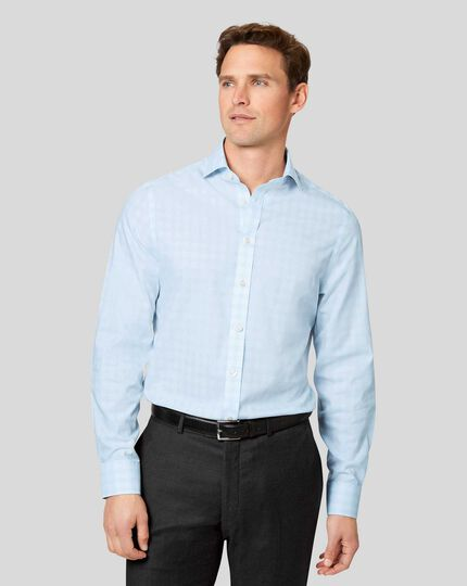 Cutaway Collar Non-Iron Prince of Wales Check Shirt - Sky