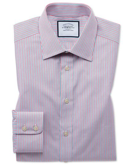 Slim fit Egyptian cotton poplin multi pink stripe shirt