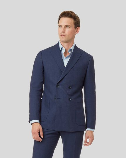 Mini Grid Double Breasted Suit Jacket - Mid Blue