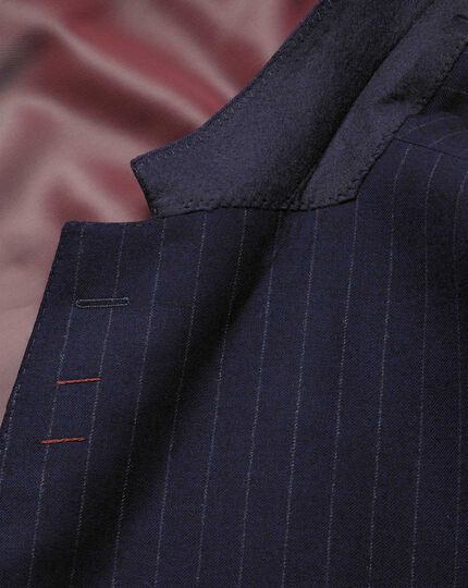 Navy stripe classic fit flannel business suit jacket