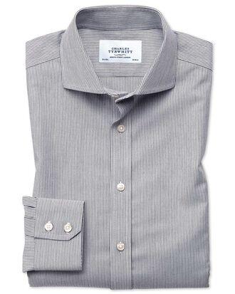 Slim fit spread collar non-iron fine stripe charcoal shirt